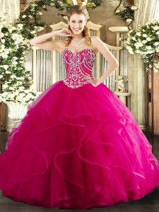 Edgy Sweetheart Sleeveless Quinceanera Gowns Floor Length Beading and Ruffles Hot Pink Tulle