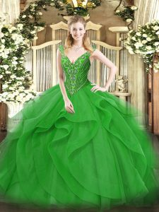Green Lace Up V-neck Beading and Ruffles Quinceanera Gowns Tulle Sleeveless