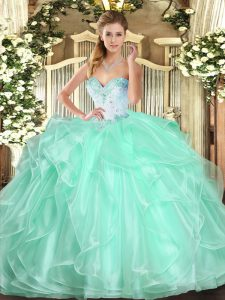 Apple Green Ball Gowns Sweetheart Sleeveless Organza Floor Length Lace Up Beading and Ruffles Quince Ball Gowns