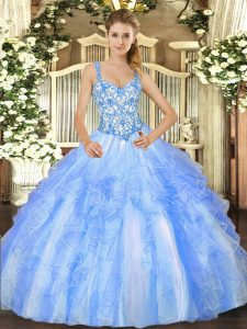 Fitting Floor Length Blue And White Ball Gown Prom Dress Straps Sleeveless Lace Up