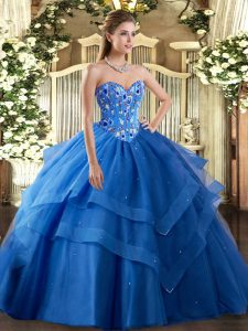 Dynamic Blue Sweetheart Neckline Embroidery and Ruffled Layers Quinceanera Dresses Sleeveless Lace Up