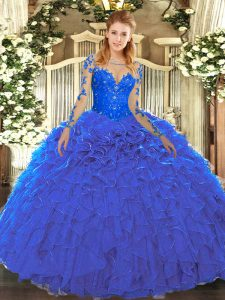 Blue Organza Lace Up Scoop Long Sleeves Floor Length Quinceanera Gown Lace and Ruffles