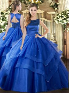 New Arrival Blue Scoop Lace Up Ruffled Layers Quinceanera Dress Sleeveless