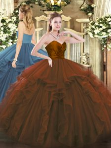 Tulle Sleeveless Floor Length Quince Ball Gowns and Ruffles