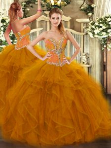 Superior Sleeveless Tulle Floor Length Lace Up Sweet 16 Quinceanera Dress in Brown with Beading and Ruffles