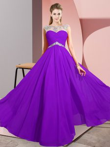 Extravagant Chiffon Sleeveless Floor Length Prom Dresses and Beading