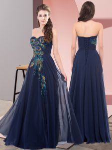 Custom Made Navy Blue Empire Sweetheart Sleeveless Chiffon Floor Length Lace Up Embroidery