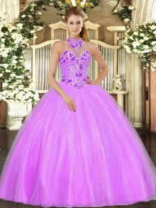Pretty Floor Length Lace Up Ball Gown Prom Dress Lilac for Military Ball and Sweet 16 and Quinceanera with Embroidery