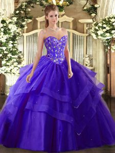 Tulle Sweetheart Sleeveless Lace Up Embroidery and Ruffled Layers Sweet 16 Quinceanera Dress in Purple