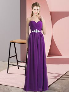 Delicate Beading Homecoming Dress Purple Lace Up Sleeveless Floor Length
