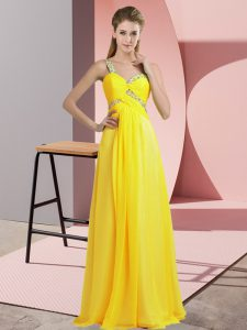 Beading Prom Evening Gown Yellow Lace Up Sleeveless Floor Length