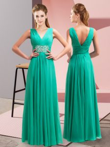 Edgy Turquoise Evening Dress Prom and Party with Beading and Ruching V-neck Sleeveless Side Zipper