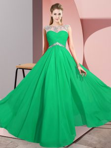 Green Empire Beading Prom Dress Clasp Handle Chiffon Sleeveless Floor Length