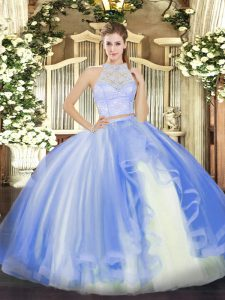 Excellent Baby Blue Sleeveless Tulle Zipper 15th Birthday Dress for Military Ball and Sweet 16 and Quinceanera