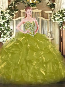 Olive Green Organza Lace Up Vestidos de Quinceanera Sleeveless Floor Length Beading and Ruffles