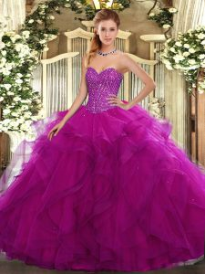 Tulle Sweetheart Sleeveless Lace Up Beading and Ruffles Quinceanera Gown in Fuchsia