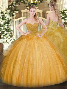 Glittering Gold Sleeveless Floor Length Lace Lace Up Quinceanera Gown