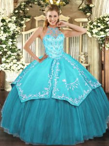 Flirting Aqua Blue Sleeveless Beading and Embroidery Floor Length 15th Birthday Dress