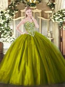 Sweetheart Sleeveless Lace Up 15th Birthday Dress Olive Green Tulle