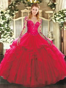 Ball Gowns Quince Ball Gowns Red Scoop Tulle Long Sleeves Floor Length Lace Up