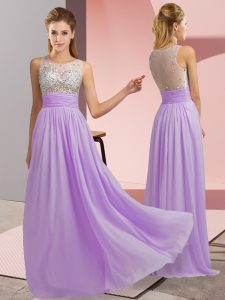 Flare Lavender Side Zipper Scoop Beading Prom Evening Gown Chiffon Sleeveless