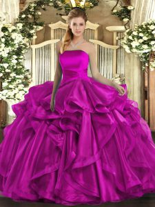 Custom Fit Fuchsia Strapless Lace Up Ruffles 15 Quinceanera Dress Sleeveless
