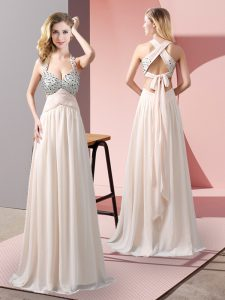 Comfortable Champagne Empire Chiffon Halter Top Sleeveless Beading Floor Length Criss Cross Evening Dress
