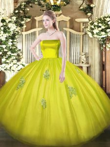 Olive Green Ball Gowns Strapless Sleeveless Tulle Floor Length Zipper Appliques Quinceanera Gowns