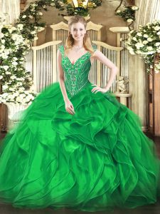 Fashionable Green Ball Gown Prom Dress Military Ball and Sweet 16 and Quinceanera with Beading and Ruffles V-neck Sleeveless Lace Up