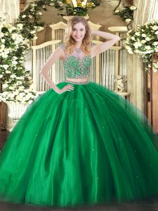 Most Popular Green Two Pieces Tulle Scoop Sleeveless Beading Floor Length Lace Up Quinceanera Gowns