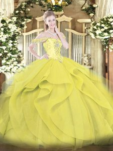 Ball Gowns Quinceanera Dresses Yellow Off The Shoulder Tulle Sleeveless Floor Length Lace Up