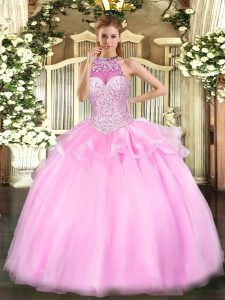 Custom Design Pink Sleeveless Floor Length Beading Lace Up 15 Quinceanera Dress