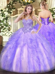 Sumptuous Tulle Sleeveless Floor Length 15th Birthday Dress and Appliques and Ruffles
