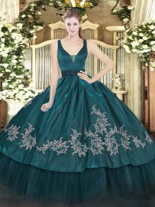 Wonderful Beading and Embroidery Quince Ball Gowns Teal Zipper Sleeveless Floor Length