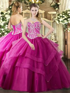 Cute Floor Length Fuchsia Quinceanera Gowns Sweetheart Sleeveless Lace Up
