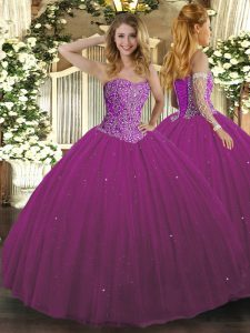 Fuchsia Sleeveless Floor Length Beading Lace Up 15th Birthday Dress
