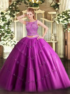 Floor Length Lace Up Quinceanera Gowns Fuchsia for Military Ball and Sweet 16 and Quinceanera with Beading and Appliques