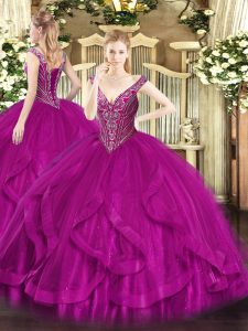 Luxurious Fuchsia V-neck Neckline Beading and Ruffles Ball Gown Prom Dress Sleeveless Lace Up