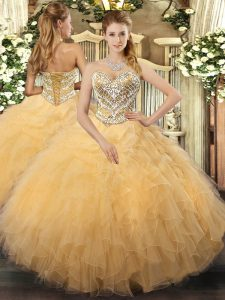 Gold Sleeveless Beading and Ruffles Floor Length Quinceanera Gown
