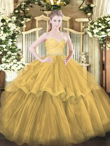 Glittering Gold Sweetheart Neckline Beading and Lace and Ruffled Layers Quinceanera Gown Sleeveless Zipper