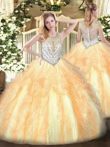 Great Sleeveless Zipper Floor Length Beading and Ruffles Sweet 16 Dresses