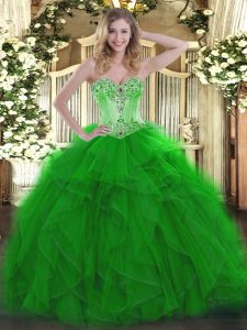 Best Organza Sweetheart Sleeveless Lace Up Beading and Ruffles Quinceanera Dress in Green