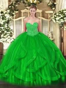 Ideal Floor Length Green Sweet 16 Dress Sweetheart Sleeveless Lace Up