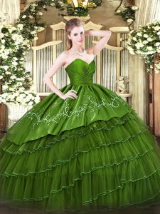 Green Organza and Taffeta Zipper Sweetheart Sleeveless Floor Length Sweet 16 Dresses Embroidery and Ruffled Layers