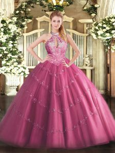 Halter Top Sleeveless Tulle Quinceanera Dress Lace and Appliques Lace Up