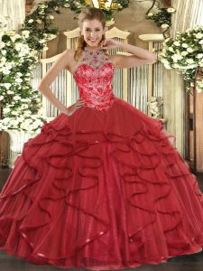 Sleeveless Organza Floor Length Lace Up 15 Quinceanera Dress in Coral Red with Beading and Ruffles