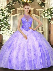 Lavender Lace Up High-neck Beading and Ruffles 15th Birthday Dress Organza Sleeveless