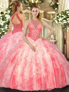 Watermelon Red High-neck Neckline Beading and Ruffles Ball Gown Prom Dress Sleeveless Lace Up