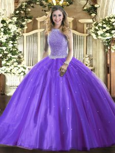 High-neck Sleeveless Tulle 15th Birthday Dress Beading Lace Up