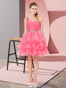 Amazing Watermelon Red Organza Lace Up One Shoulder Sleeveless Mini Length Evening Dress Beading and Ruffled Layers